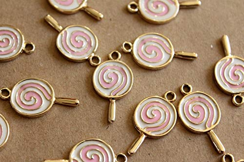 Enameled Lollipop - 6 pc. Pink, White, and Gold Enameled Lollipop Charms, 27mm x 14mm