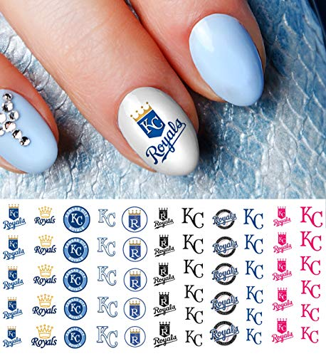 Kansas City Royals Baseball Waterslide Nail Art Decals - Salon Quality