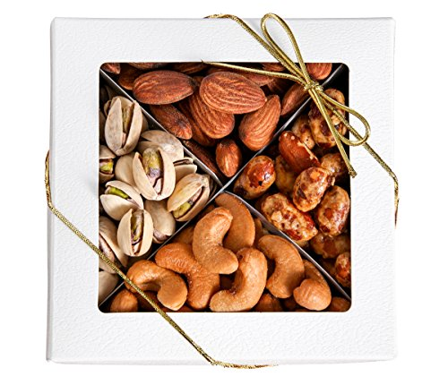 Brook Prime Freshly Roasted Salted And Honey Glazed Gourmet Nuts 4 Section Box Great Gift Idea