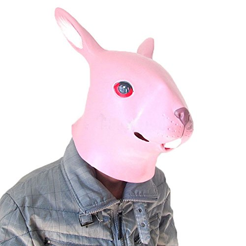 [Animal Caps Partying Funny Mask-Cosplay--Pink Rabbit] (Latex Wolf Suit)