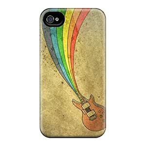 New Style LauraKrasowski Hard Cases Covers For Iphone 6- Rainbow Guitar