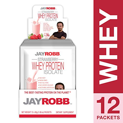 Jay Robb - Grass-Fed Whey Protein Isolate Powder, Outrageously Delicious, Strawberry, 12 Packets