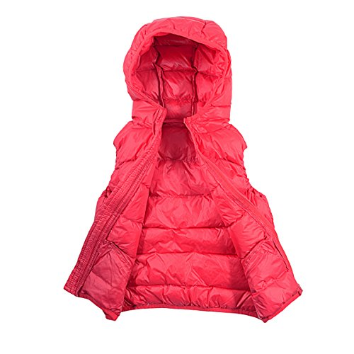 Zando Coat Puffer Hot Coral Vest Hooded Big Jacket Girls' Down Duck rxwzqrXgYv