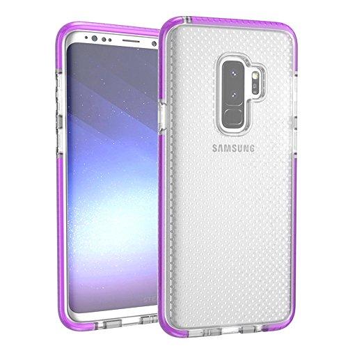 Grandcaser Funda para Samsung Galaxy S9 Plus,[Tough Armor] Slim Fit Flexible Goma Silicona TPU Gel Estuche Protectora de Claridad Diseño Lunares Textura Cover Duro Antideslizante Vistoso Parachoques - Transparente Púrpura