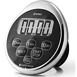dretec Digital kitchen timer, Water proof timer, Shower timer, Magnetic backing, Silver, Black, Officially Tested in Japan (1 starter Lithium battery included)