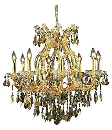 Elegant Lighting 2801D26G-Gt/Ss Swarovski Elements Smoky Golden Teak Crystal Maria Theresa 9-Light, Single-Tier Crystal Chandelier, Finished in Gold with Smoky Golden Teak Crystals ()