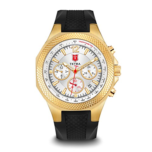 Tetra Men s Italian Gold Aventura Sport Swiss Luminous Dual Time Watch with Professional Water Resistance of 330 Feet for Swimming Luxury Gift Box Brilliant Gold