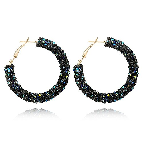 - LiveSublime Big Austrian Crystal Rhinestone Hoop Earrings (black/blue)