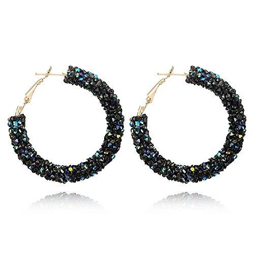 LiveSublime Big Austrian Crystal Rhinestone Hoop Earrings (black/blue)