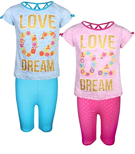 - Real Love Girls' 4-Piece Summer Outfit Set with 2 Tops & 2 Bermuda Shorts, Love Dream, Size 10/12'