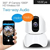 Video Camera, Sacow Wireless HD P2P Video Camera 360° IP Camera 2MP 1080P WiFi Network IR Night Vision IP Webcam