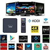 NIUBIER Android 4K Ultra Smart TV Boxes Live Streaming Media Player TV Show Box Sets With Wifi Bluethooth,Rockchip3229 Quad Core 1GB RAM 8GB Flash Kodi Pre installed Smart Box TV Black
