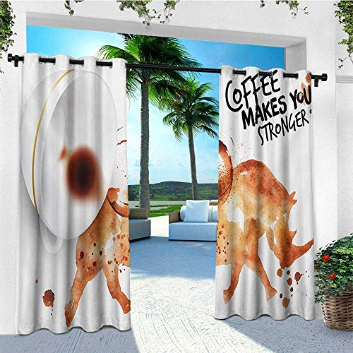 - leinuoyi Coffee Art, Outdoor Curtain Extra Long, Wild Rhino Animal from Spilled Hot Beverage Stain Latte Cappuccino, Set for Patio Waterproof W120 x L108 Inch Burnt Sienna Black White