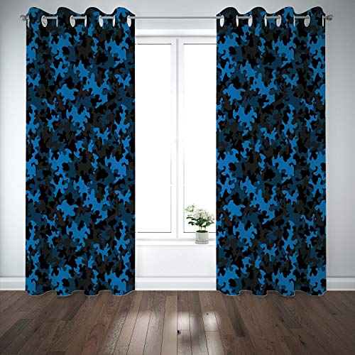 SCOCICI Grommet Satin Window Curtains Drapes [ Camouflage,Dark Toned Pattern Combat Equipment Masking Hiding Army Attire Decorative,Black Blue Chocolate] Living Room Bedroom Kitchen Cafe