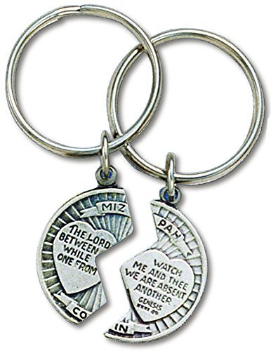 - Mizpah Coin Split Keychain Set Pewter with Verse Genesis 31:49