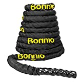 Bonnlo Battle Exercise Training Rope with Protective Cover, 1.5''/ 2'' Width Poly Dacron 30/40/50ft Length, Fitness Undulation Rope Exercise Cross Strength Training Circuits Workout (1.5'' x30Ft Length)