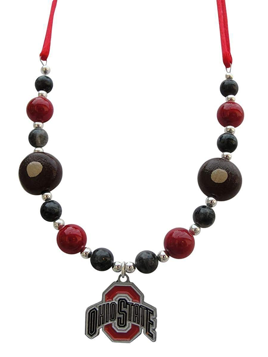 IntelligentDesignbyT Ohio State Satin Cord Necklace