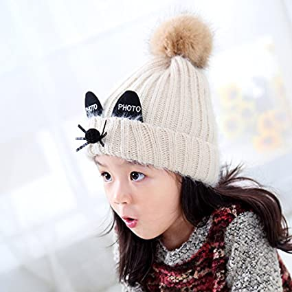 XueXian Kids Unisex Winter Knitted Cat Beanie Hat with Pompom TM