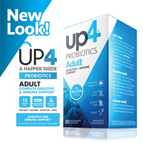 up4 Adult Probiotic Supplement | Digestive + Immune Support | 15 Billion CFU Guaranteed | Everyday Support | Non-GMO, Gluten Free, Vegan | 30 Vegetarian Capsules by up4 (Image #1)