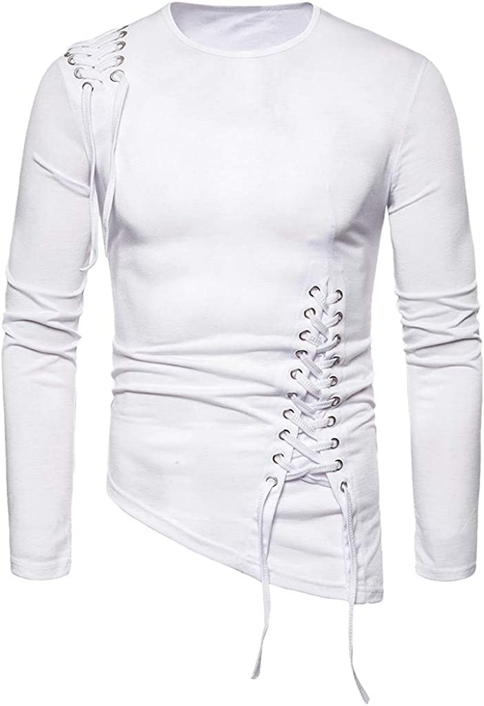 CLOOM Camisetas Termicas Hombre Manga Larga Slim Fit Irregular Blusa Camisa Moda Steampunk Vendaje Pullover Retro Sudadera: Amazon.es: Ropa y accesorios