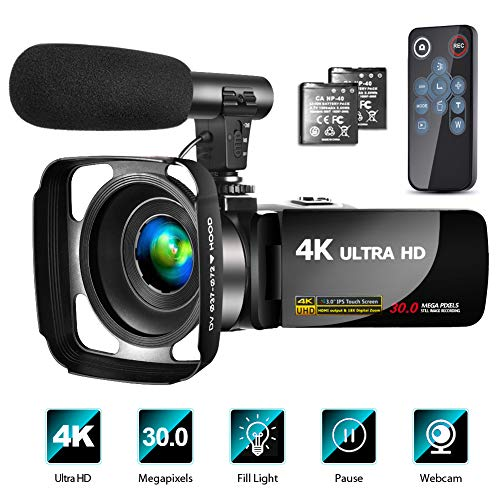 4K Video Camera Camcorder with Microphone Vlogging Camera YouTube Camera Recorder Ultra HD 30FPS 30MP 3.0″ IPS Touch Screen with Lens Hood & 2 Batteries