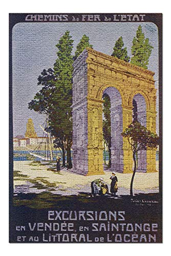 (Vend?e, France - Roman Aqueduct Scene; Coastal Region and Saintonge; State Railway Postcard (20x30 Premium 1000 Piece Jigsaw Puzzle, Made in USA!) )