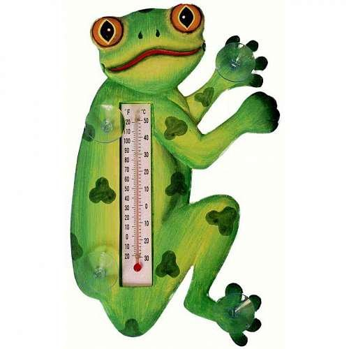 Songbird Essentials SE2172106 Tree Frog in Profile Small Window Thermometer (Set of 1)