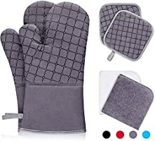 IXO 6Pcs Oven Mitts and Pot Holders, 500℉ Heat Resistant Oven Mitts with Kitchen Towels Soft Cotton Lining and Non-Slip...