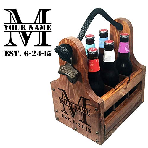 (Personalized Wood Beer Caddy with Bottle Opener and Magnetic Bottle Cap Catcher. Handmade Rustic Wooden Six Pack Tote/Carrier - Split Monogram with Est. Date)