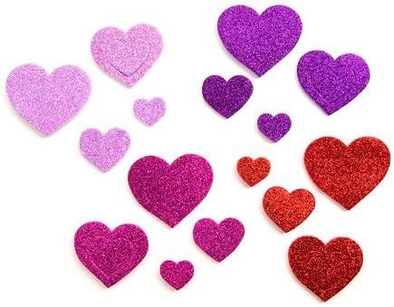 100 Purple Love Hearts Waterproof Peel Off Shiny Stickers Self Adhesive
