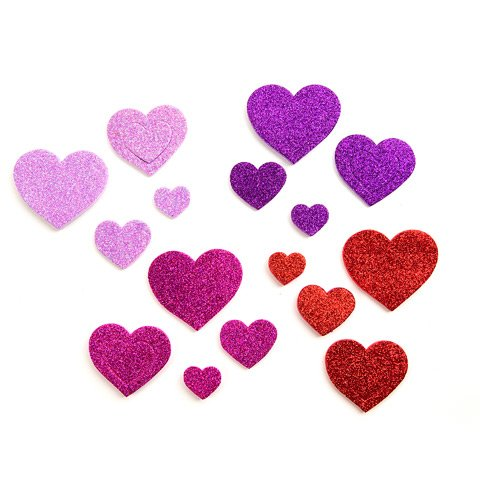 120 Piece Bright Glitter Foam Heart Stickers