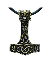 "EXOTICDREAM Thor's Hammer Mjölnir Viking Silver Brass Plated Pewter Pendant Choker + Pvc 18"" Necklace VIII"