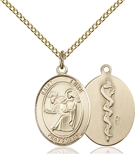 (14K Gold Filled Saint Luke the Apostle Doctor Medal Pendant, 3/4 Inch)