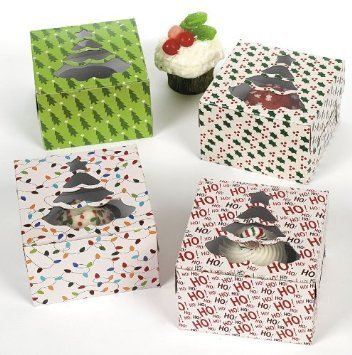 Fun Express 1 X Christmas Holiday Cupcake Boxes - 12 Pack -