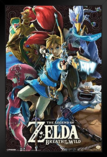 Pyramid America Legend of Zelda Breath of The Wild Divine Beasts Video Game Gaming Framed Poster 14x20 inch (League Of Zelda Breath Of The Wild)