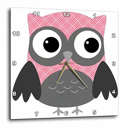 "3dRose DPP_167615_1 Cute Pink & White Plaid Owl Wall Clock, 10 by 10"""