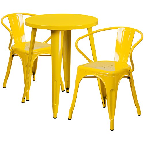 24' Round Cafe Table - Flash Furniture 24'' Round Yellow Metal Indoor-Outdoor Table Set with 2 Arm Chairs