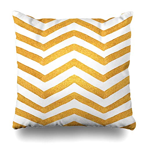 Ahawoso Throw Pillow Cover Zag Yellow Artistic Gold Zigzag Pattern Golden Stripes Style On for Cutaway Booklet Abstract Bright Zippered Pillowcase Square Size 20 x 20 Inches Home Decor Cushion Case