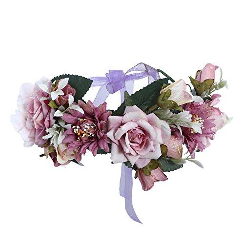Flower Crown Headband Floral headpiece - New Bohemian Ribbon Adjust Flower Hairbands Party Wedding Hair Wreaths ()