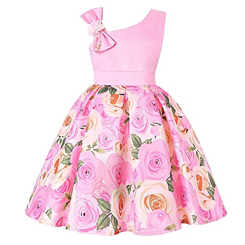 M-Sea Girls Birthday Floral Dress Kids Party Princess Pageant Flower Wedding Toddler Formal Bridesmaid Holiday Pink -