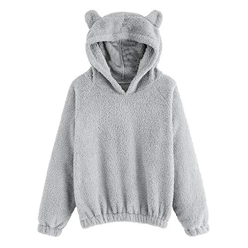 Xinantime Velvet Hooded Cute Bear Ear Teen Girl Fleece Sweatshirt Hoodie Pullover Tops Blouse Outwear (Genuine Fur 3/4 Rabbit Coat)