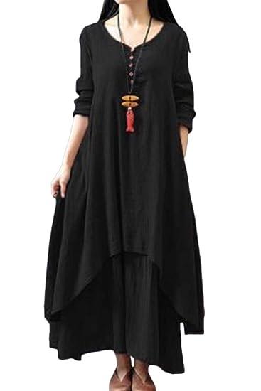 meilleure sélection e89a9 2ed35 Zilcremo Femme Robe Longue Boheme Ete Tunique Grande Taille Ethnique Coton  Lin Kurta Boho Vintage Robes