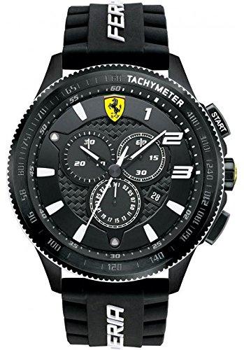 Ferrari Men's 830242 Scuderia XX Black Watch with Silicone Strap Date Mens Fluted Bezel