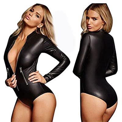 Flymall Women Faux Leather Zip Bodycon Romper Jumpsuits Bodysuits
