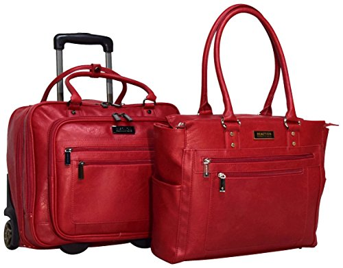 - Kenneth Cole Reaction 2-Piece Carry On Set: Computer Tote and Wheeled Overnighter Under Seat Bag (Red)