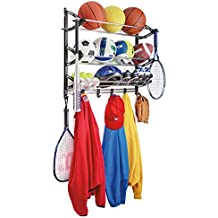 Lynk Sports Rack with Adjustable Hooks - Sports Equipment Organizer - Sports Gear Storage
