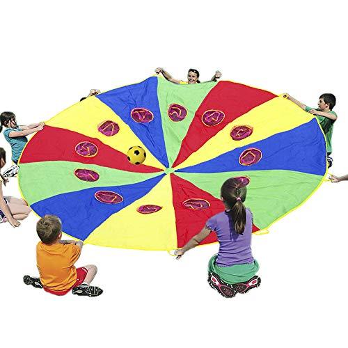 Bambini Multicolore Gioca Paracadute 12 〞Tenda Giochi al Coperto e allaperto attivit/à Giocattoli Mertonzo Paracadute Ludico con 12 Maniglie e Fori a Rete per Bambini