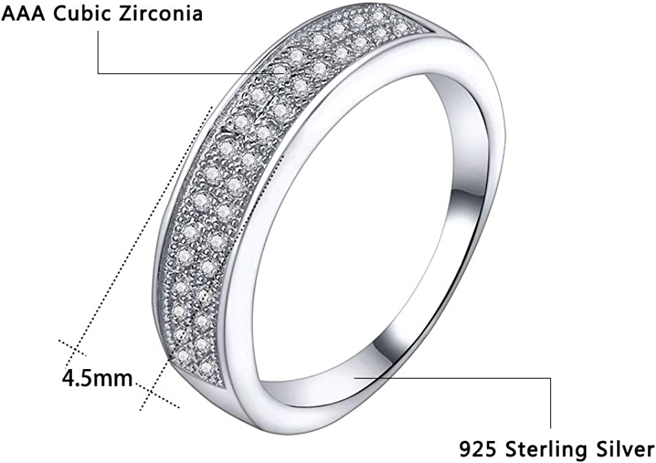 925 Sterling Silver Created Diamond  6mm 6 row Micro pave Full Eternity ring