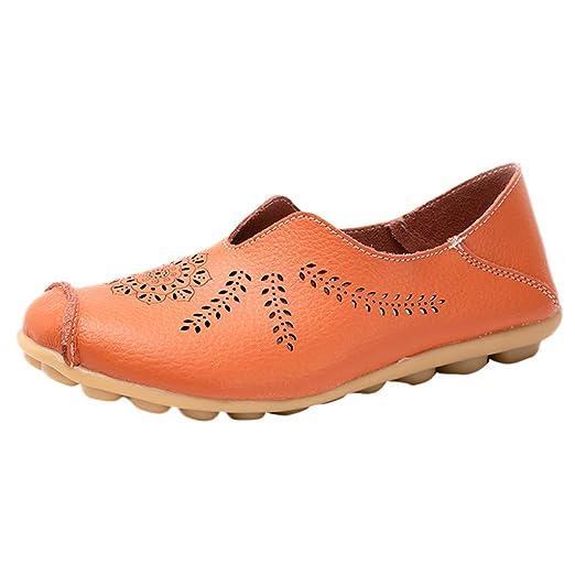 LILICAT✈✈ Ocio Mujeres Zapatos Redondos con Punta Hueca sin Cordones Zapatos Planos Individuales Guisantes