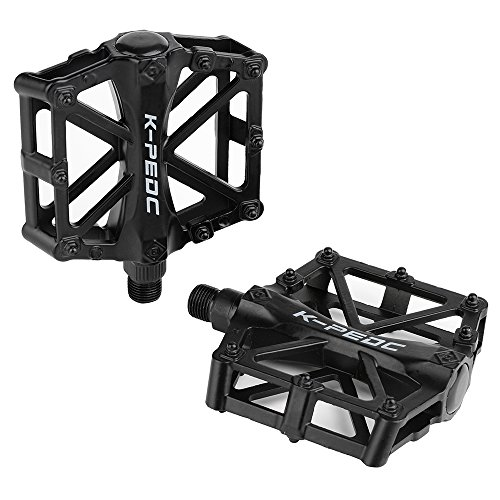Aluminium Alloy CNC Ball Bearing Bike Pedals Road Bicycles Fixed Gear MTB Cycling Flat Pedal 9/16 (Black)